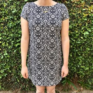 Zara Damask Printed Black White Mini Dress